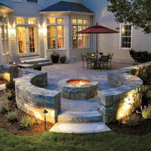 Boston Blend Square Rec Firepit Stonewall Patio