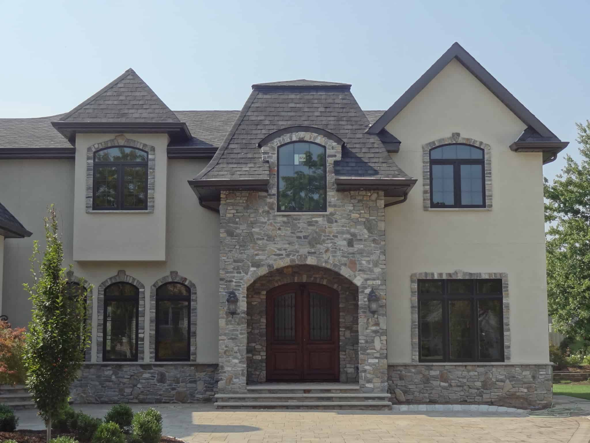 Natural Stone Siding and Stone Window Trim   Stoneyard® on brick and stucco designs, stucco and brick combination exterior, stone front house designs, wood and stone home designs, spanish home designs, log and stone home designs,