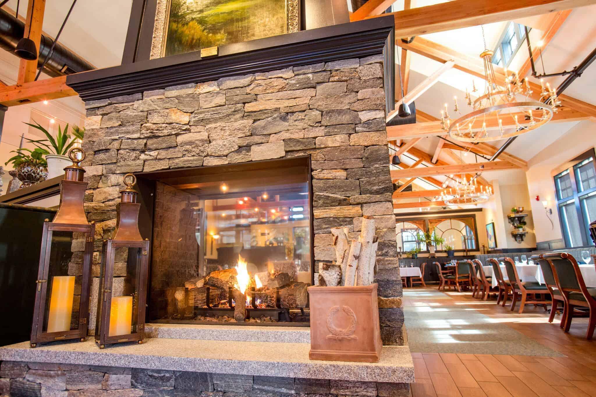 VTLF Boston Blend Ashlar Copper Door Fireplace